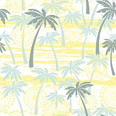 Seamless pattern with palm trees. Tropical vector background.