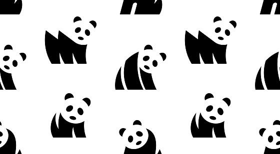 Seamless pattern with Panda logo