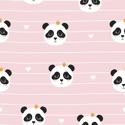 seamless pattern with panda princess, vector illustration