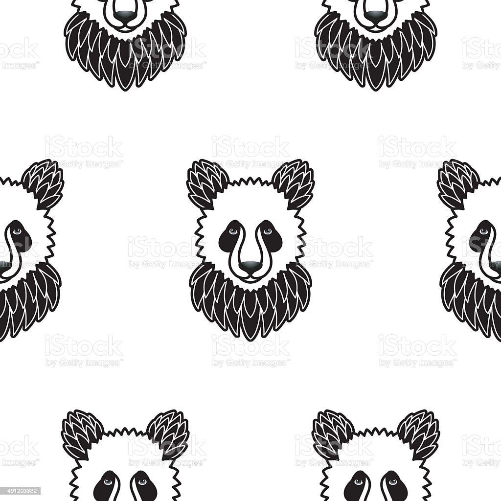 Patrón Sin Costuras Con Oso Panda - Arte vectorial de stock y más ...