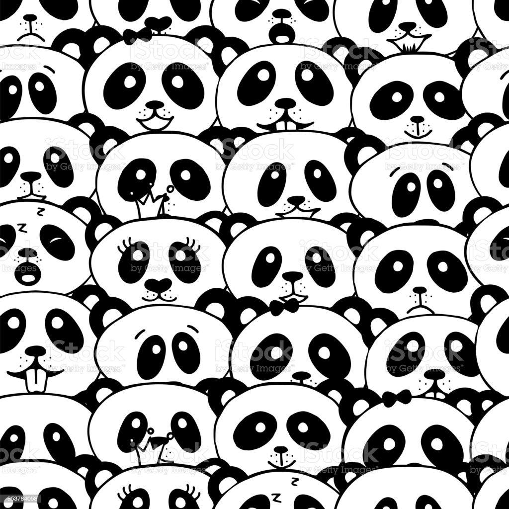 Ilustración de Patrón Sin Costuras Con Oso Panda y más banco de ...