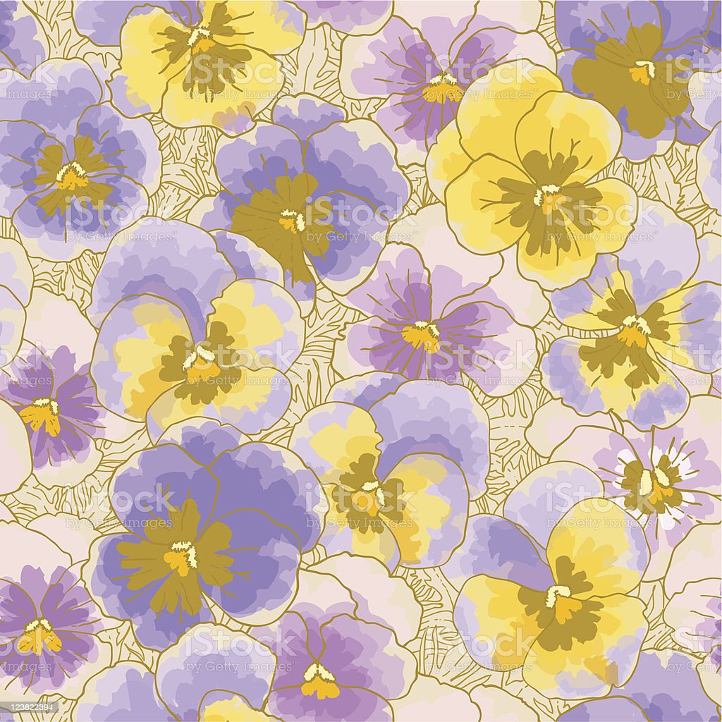 Seamless pattern with pansy royalty-free stock vector art