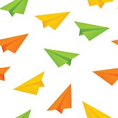Seamless pattern with paper airplanes