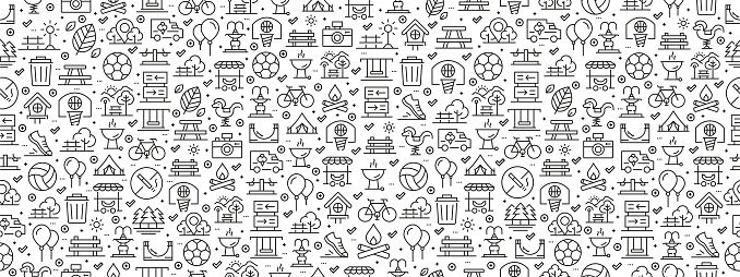 Seamless Pattern with Park Icons
