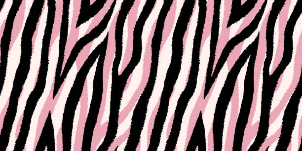Seamless pattern with pastel pink and black zebra stripes. Vector wallpaper. Seamless pattern with pastel pink and black zebra stripes. Vector wallpaper. animal markings stock illustrations