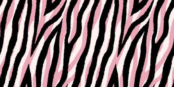stockillustraties, clipart, cartoons en iconen met naadloze patroon met pastel roze en zwarte zebra strepen. vector behang. - dierenhaar