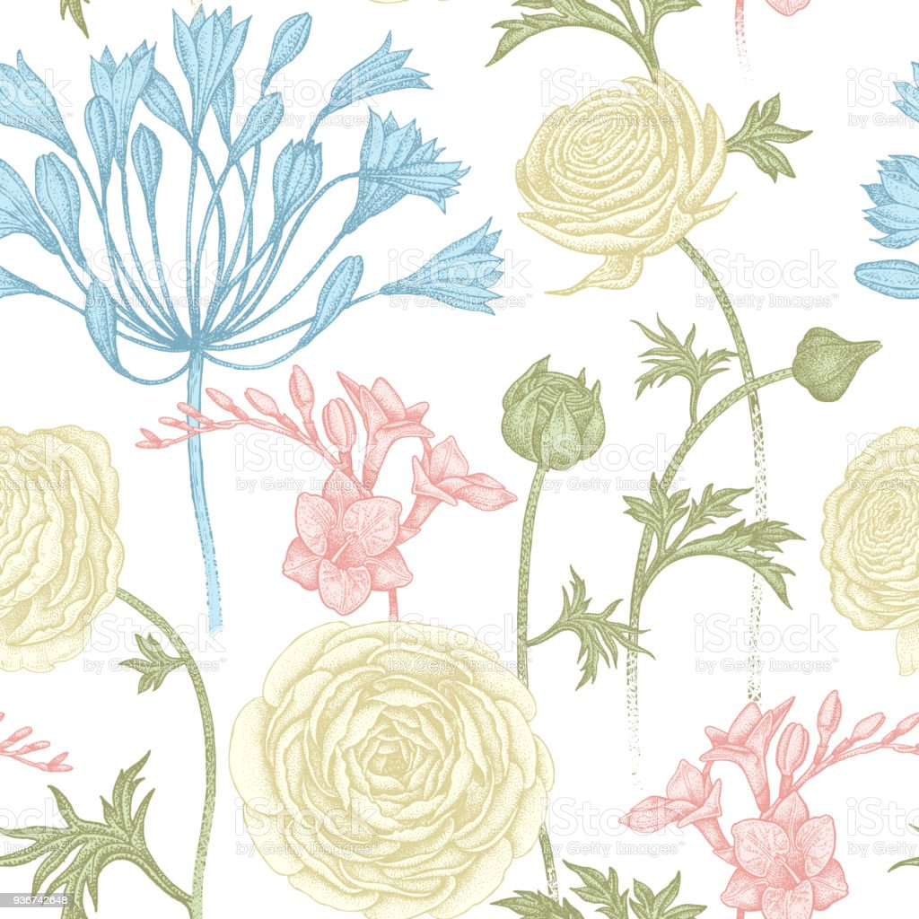 Seamless pattern with pastel spring flowers. vector art illustration