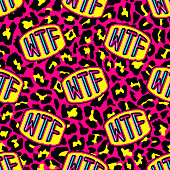 """Seamless pattern with patches, badges with words """"WTF"""". Modern trendy illustration. Quirky funny cartoon comic style of 80-90s. Colorful bright red and yellow leopard background."""