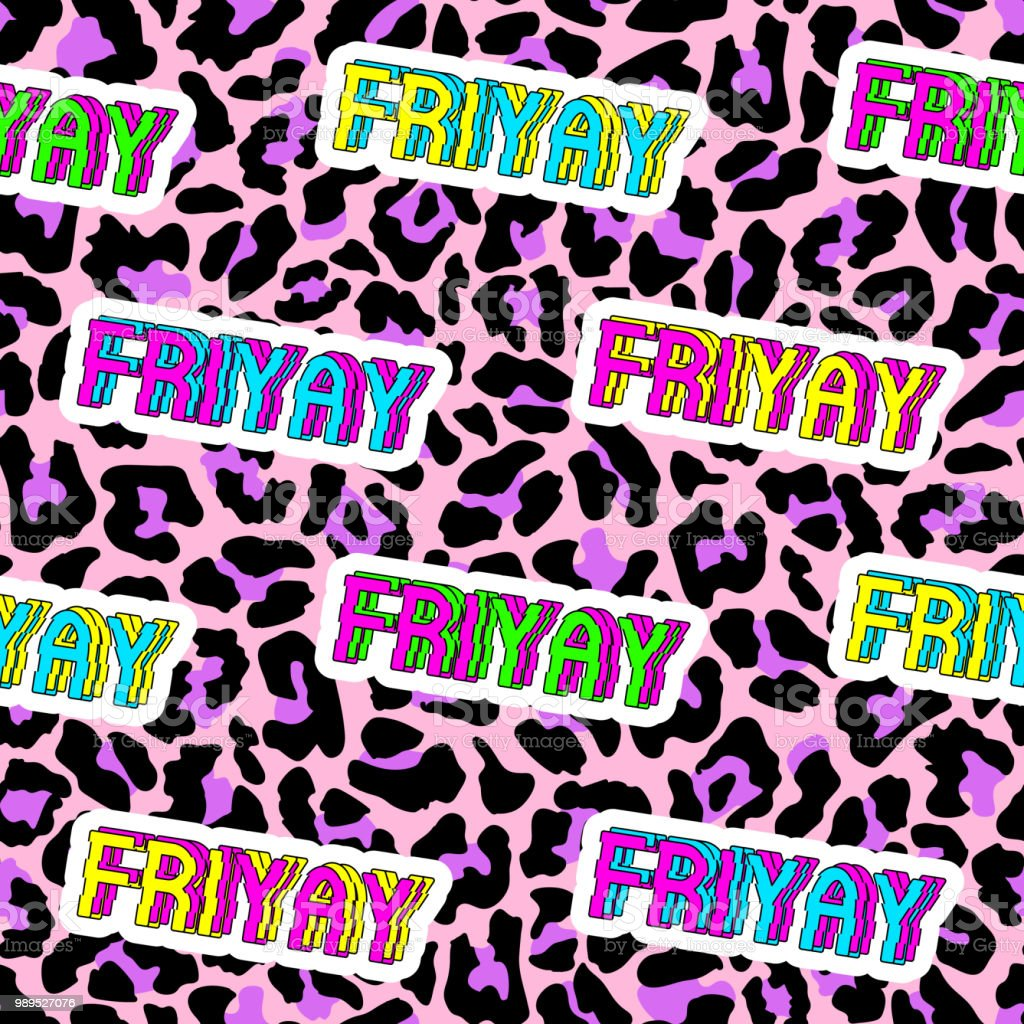 """Seamless pattern with patches, stickers, badges, pins with words """"Friyay"""" - a combination of """"Friday"""" and """"Yay""""."""