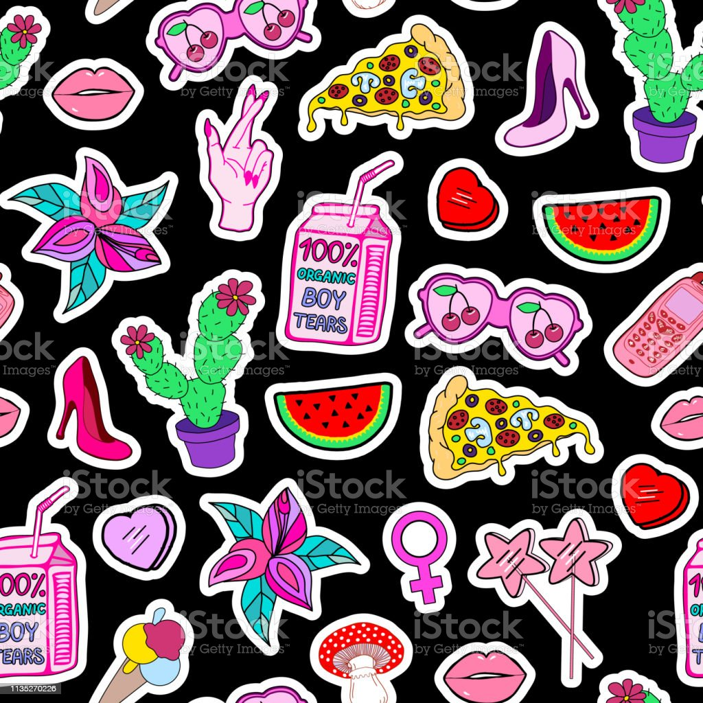 Seamless Pattern With Patches With Lollipops High Hills