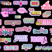 Seamless pattern with patches, words (lol, yolo, meow, xoxo, whatever, etc.) and various elements (lips, hearts, rainbows, cell phones, high heel shoes, etc). Black background.