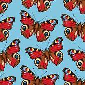 Seamless pattern with peacock butterflies