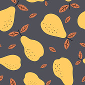 istock Seamless pattern with pears. Fruits light modern texture on dark background. Abstract vector graphic illustration 1292903357