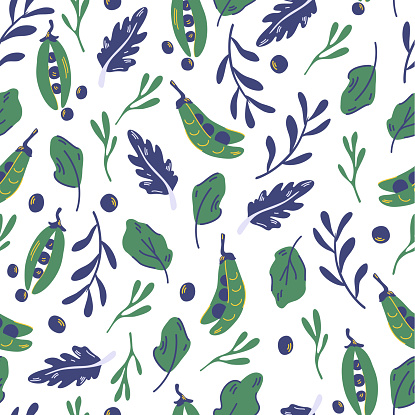 Seamless pattern with peas and salad leaves. Green pea. Healthy green food. Vegan. Trendy organic style background. Eco product. For fabric, wrapping, textile, wallpaper, apparel. Vector backdrop