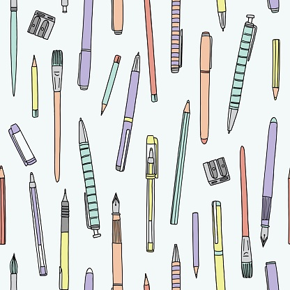 Seamless pattern with pencils