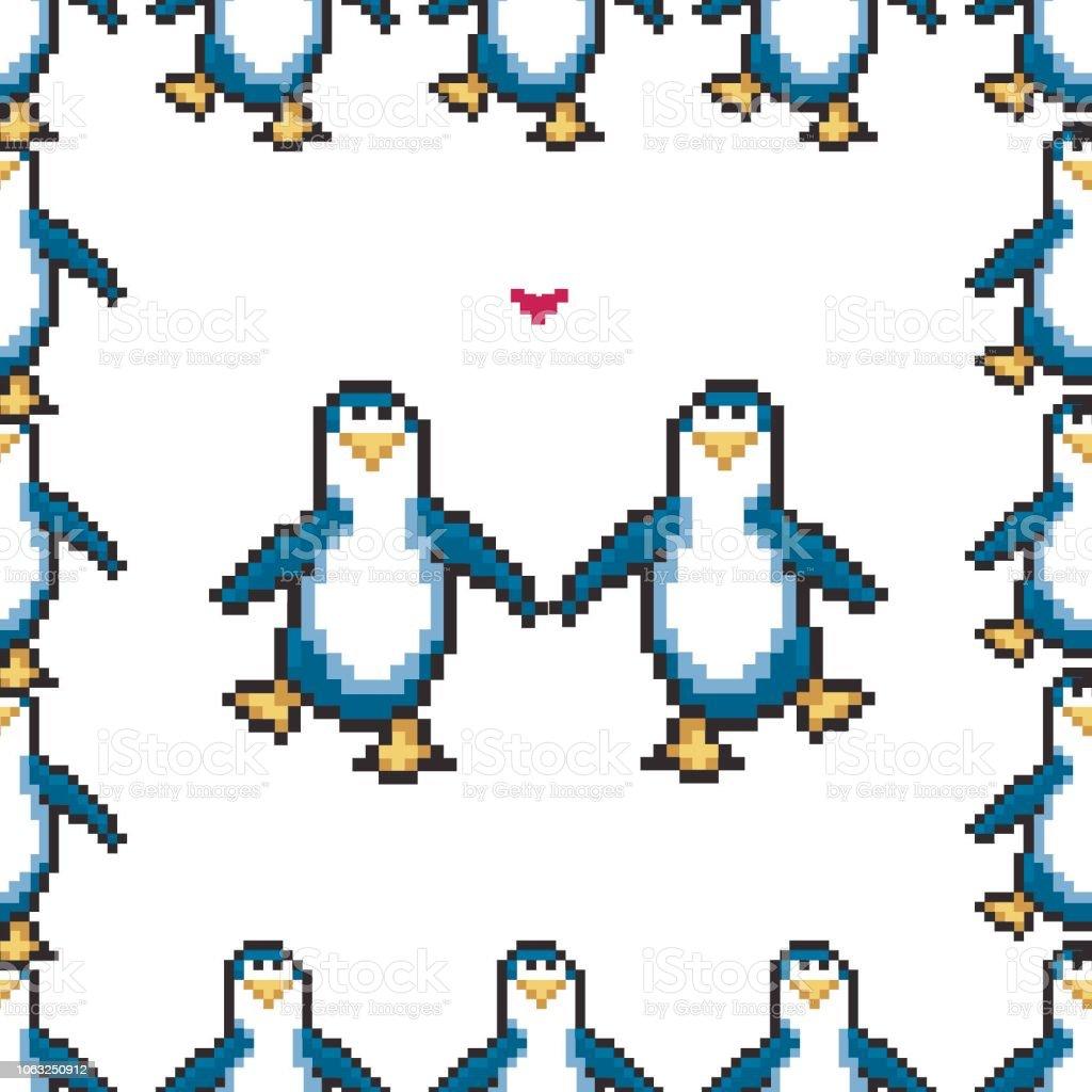 Modèle Sans Couture Avec Penguins Dans Lamour Pingouins