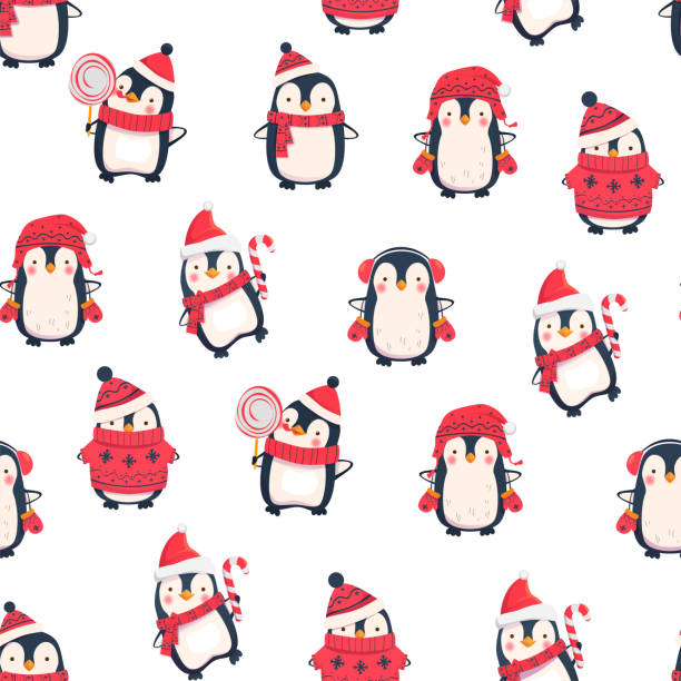 seamless pattern with penguins - penguin stock illustrations