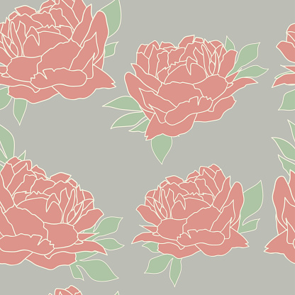 Seamless pattern with peonies. Floral wallpaper. Floral background with peonies. Beautiful floral pattern.
