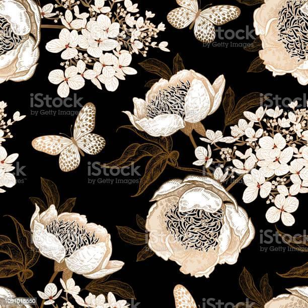 Seamless pattern with peonies hydrangea flowers and butterflies vector id1091018550?b=1&k=6&m=1091018550&s=612x612&h=b01hqwegjrws8e97jgjuwkdl0z4vbsrqssvrbpyzw48=