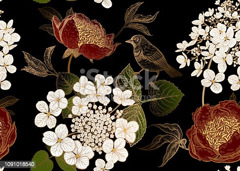 Peonies, hydrangea and little birds. Floral vintage seamless pattern. Bouquets of garden flowers, leaves, branches on black background. Print of gold foil. Oriental style. Vector illustration art.
