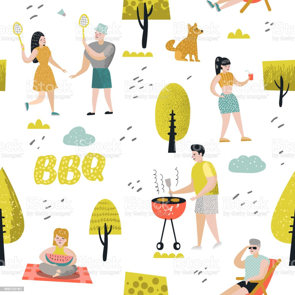 seamless pattern with people on bbq party friends on summer barbeque