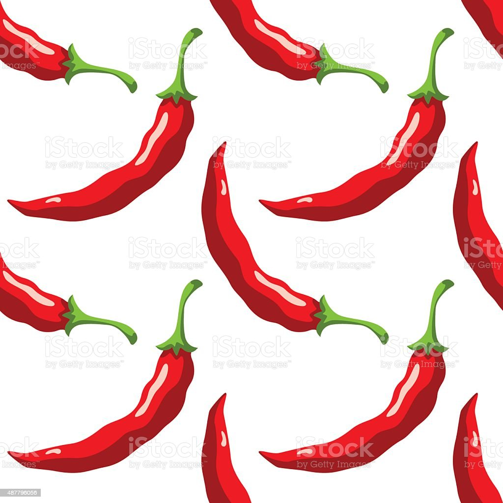 Seamless pattern with peppers vector art illustration