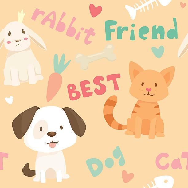 Seamless pattern with pet animals vector art illustration