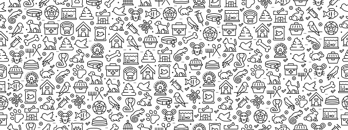 Seamless Pattern with Pets Icons