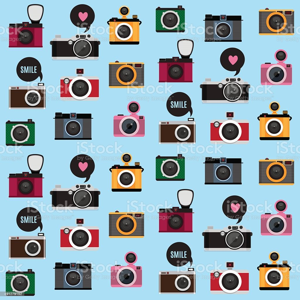 Seamless pattern with photo camera icons. vector art illustration