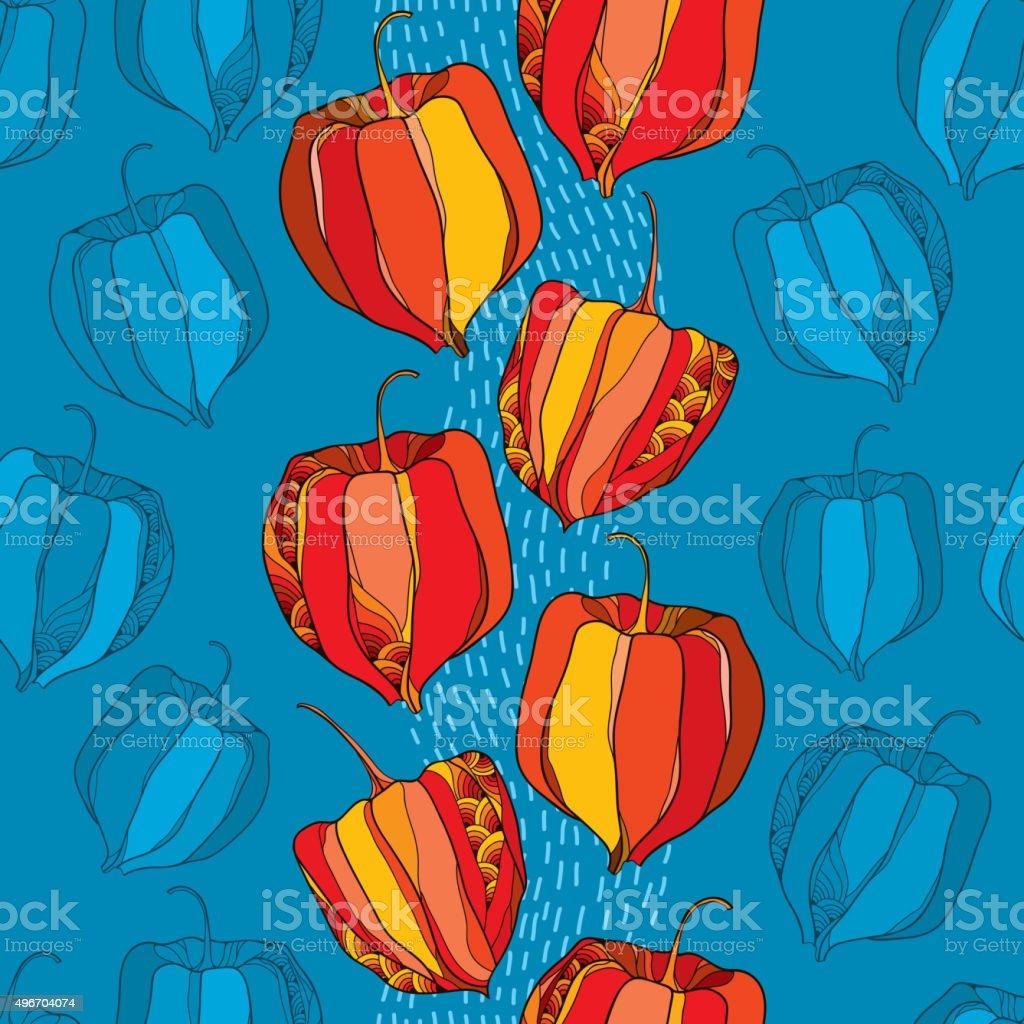 Patrón sin costuras con Physalis en rojo en el fondo azul - ilustración de arte vectorial