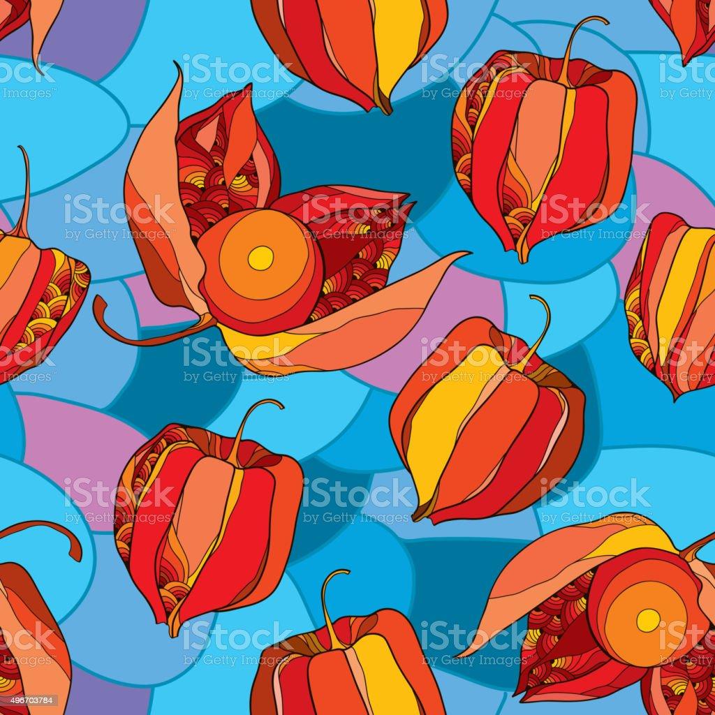 Patrón sin costuras con Physalis en rojo en el fondo de mosaico - ilustración de arte vectorial