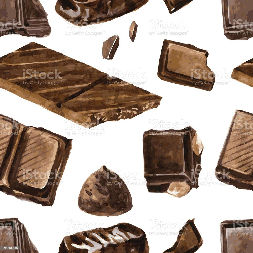 seamless pattern with pieces of chocolate vector art illustration