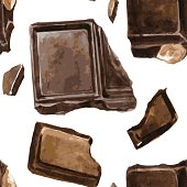 vector seamless pattern with pieces of chocolate drawing by watercolor at white background, hand drawn vector illustration