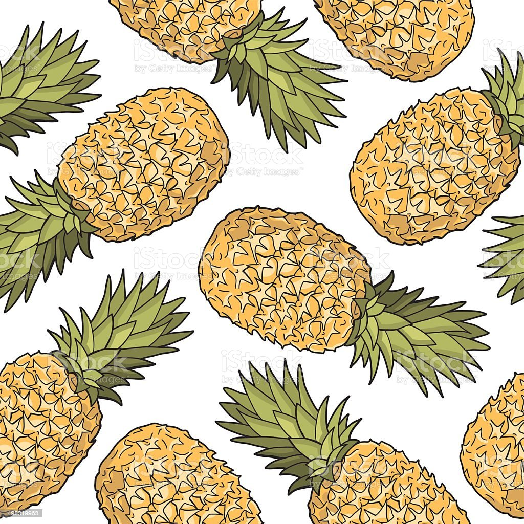 Seamless pattern with pineapples royalty-free seamless pattern with pineapples stock vector art & more images of art