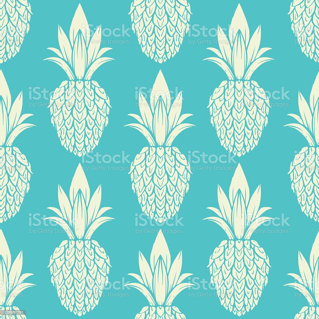 Seamless pattern with pineapples vector art illustration