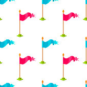 Seamless pattern with pink and blue flags on white background. Vector cartoon background with game element. Design concept can be used for web banner, poster, wallpaper, wrapping paper.