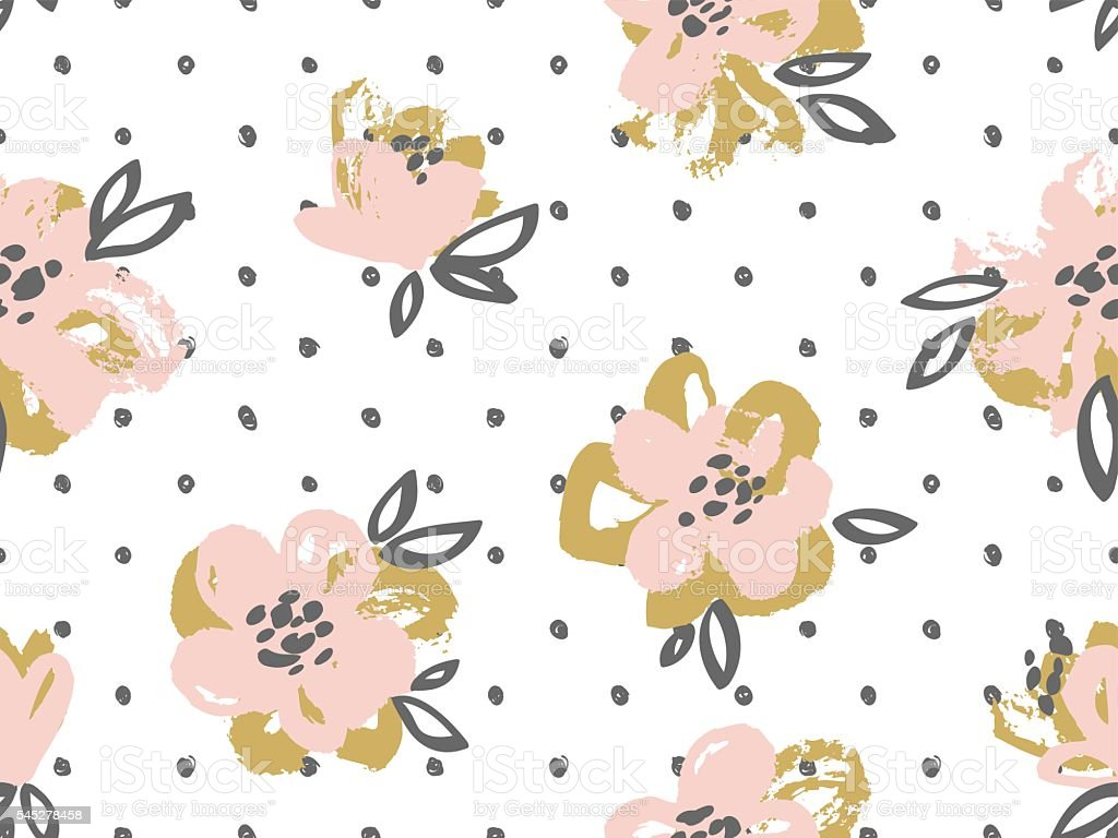 Seamless pattern with pink and gold flowers. vector art illustration