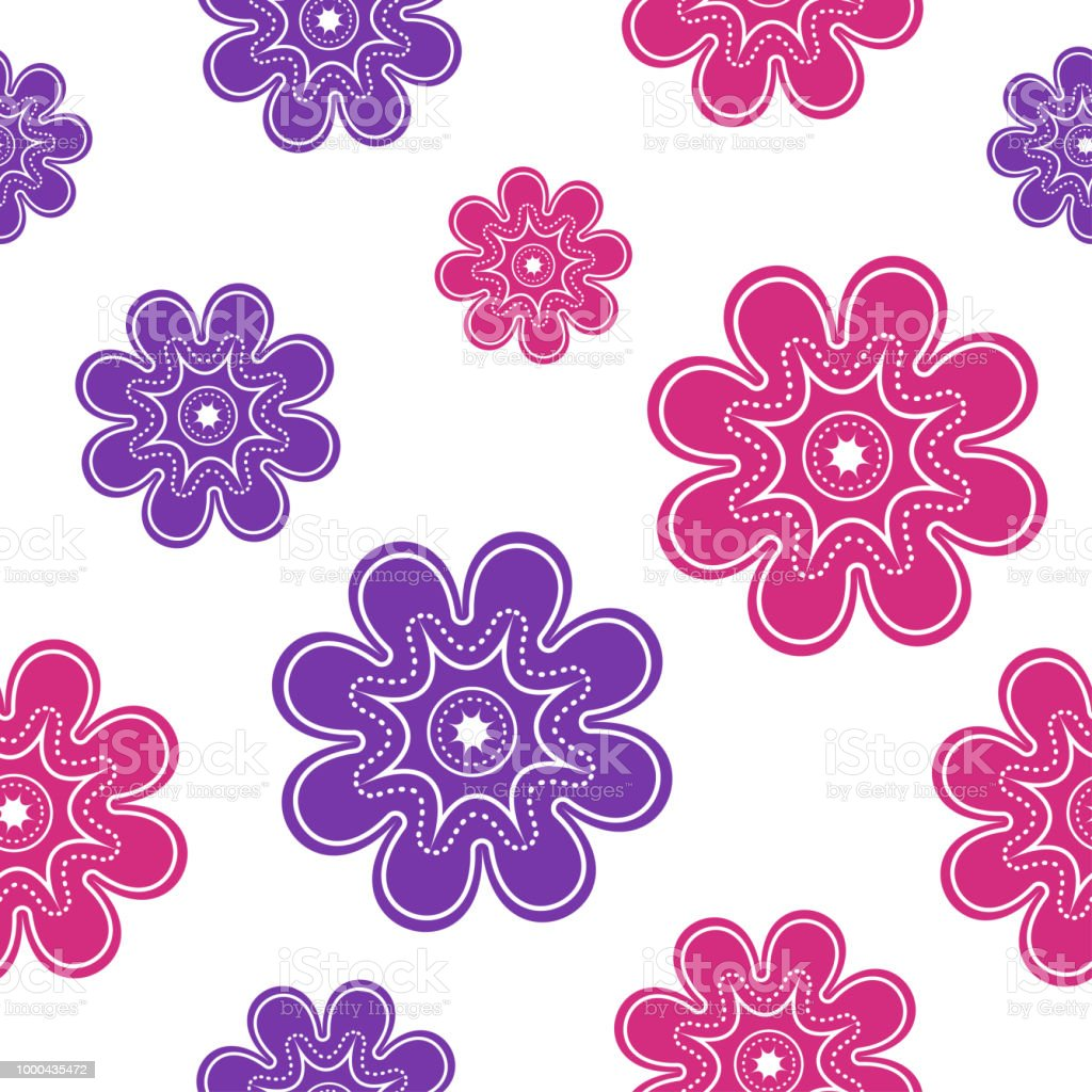 Seamless Pattern With Pink And Purple Flowers On White Background