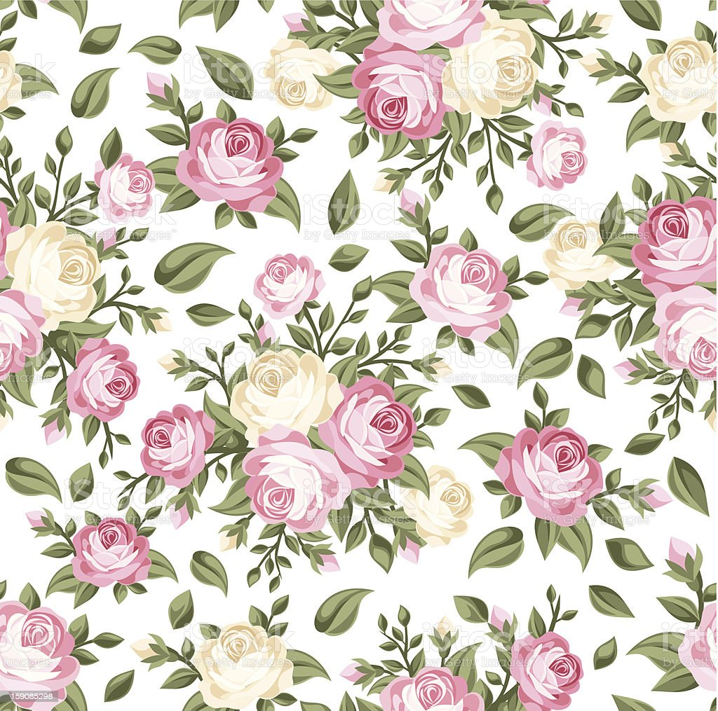 Seamless pattern with pink and white roses. Vector illustration. royalty-free seamless pattern with pink and white roses vector illustration stock vector art & more images of backgrounds