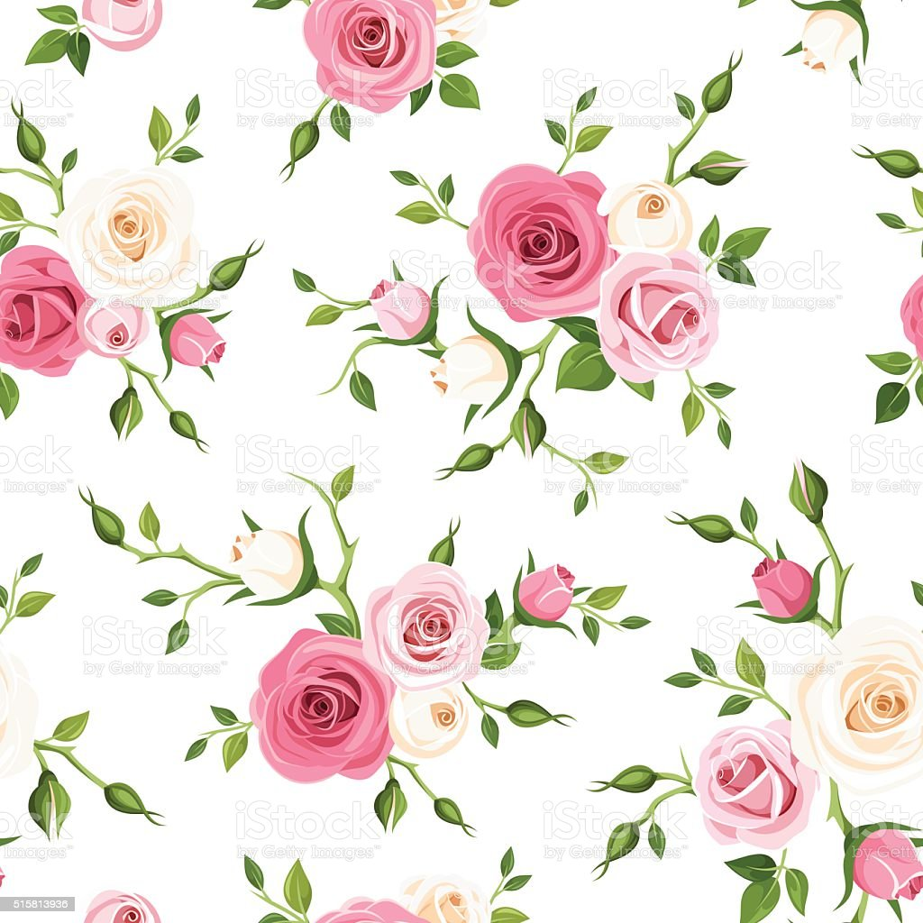 Seamless pattern with pink and white roses. Vector illustration. vector art illustration