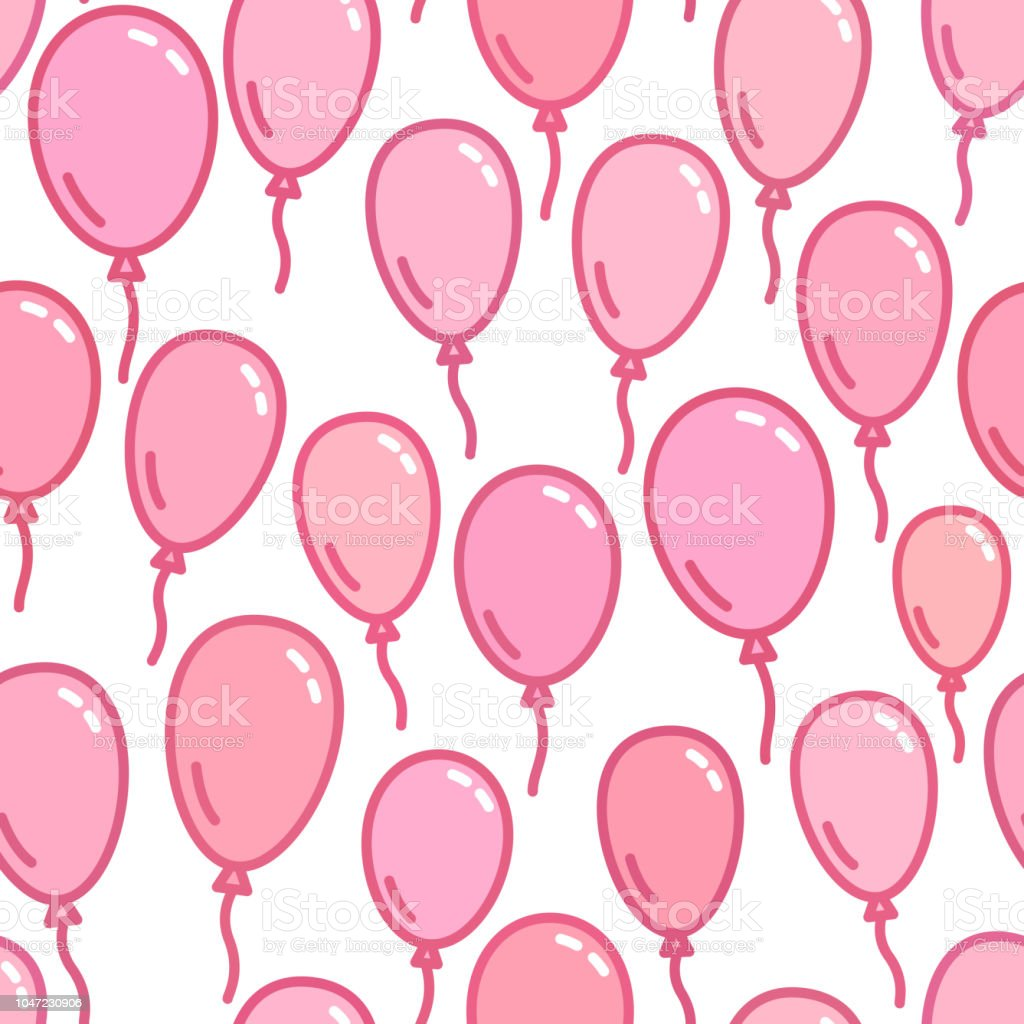 Seamless Pattern With Pink Balloons Naive And Simple Background Wallpaper Vector Illustration
