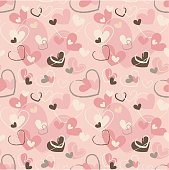 Seamless pattern with pink, beige hearts in different sizes and brushes. Colorful holiday vector texture, background, wallpaper.