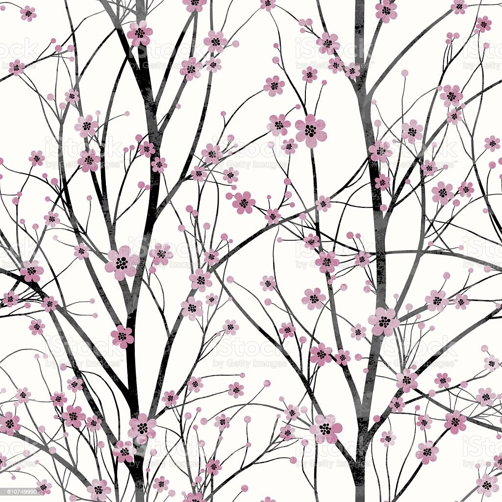 Seamless pattern with pink cherry tree blossom vector art illustration