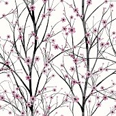 Seamless pattern with pink cherry tree blossom