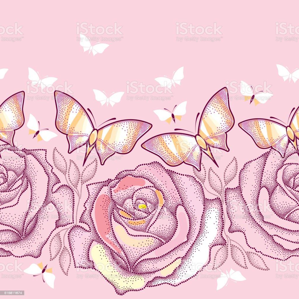 Ilustración de Patrón Continuo Con Rosa Salpicado Rosas Hojas Y ...