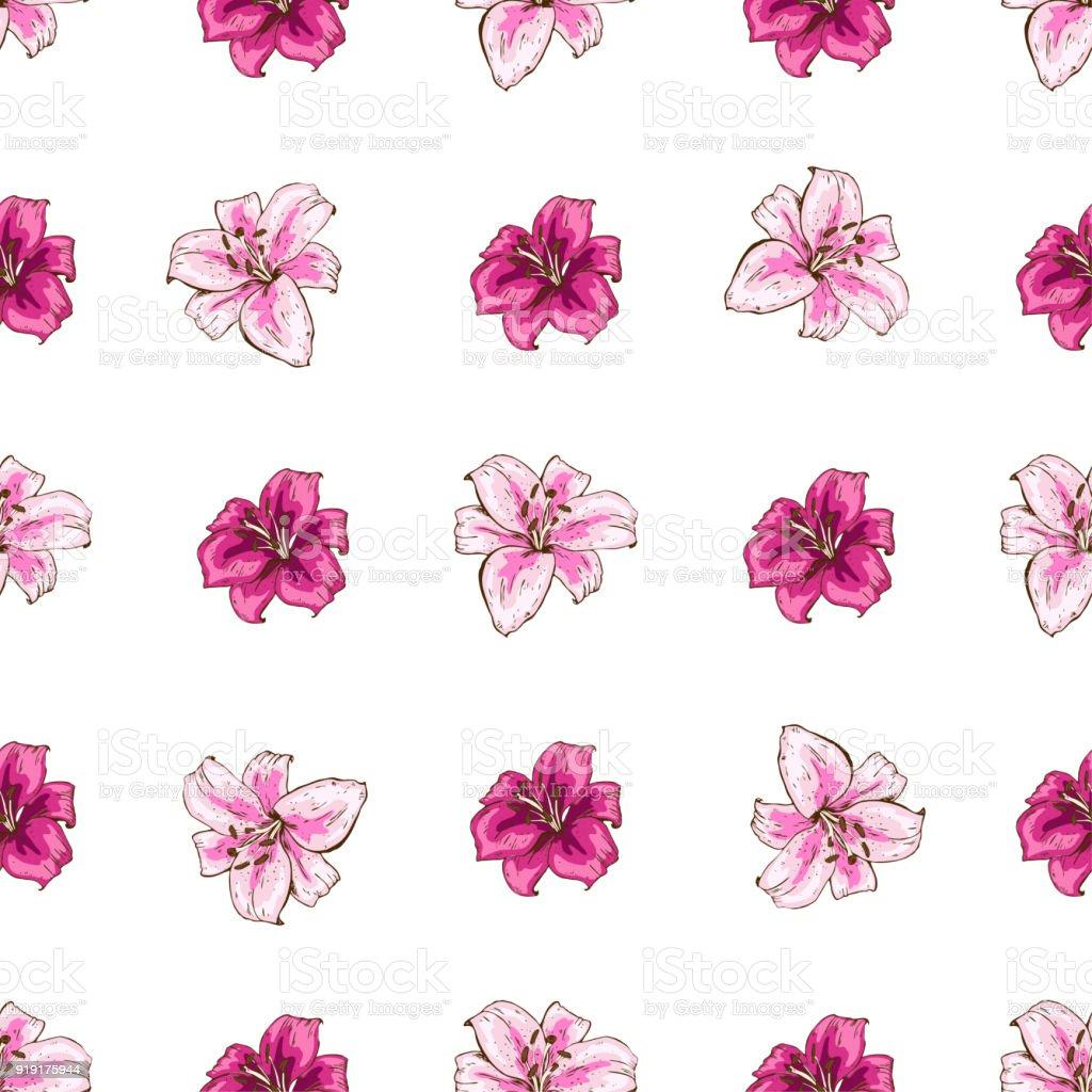 Ilustración De Patrón Transparente Con Flores De Lirios Color Rosa
