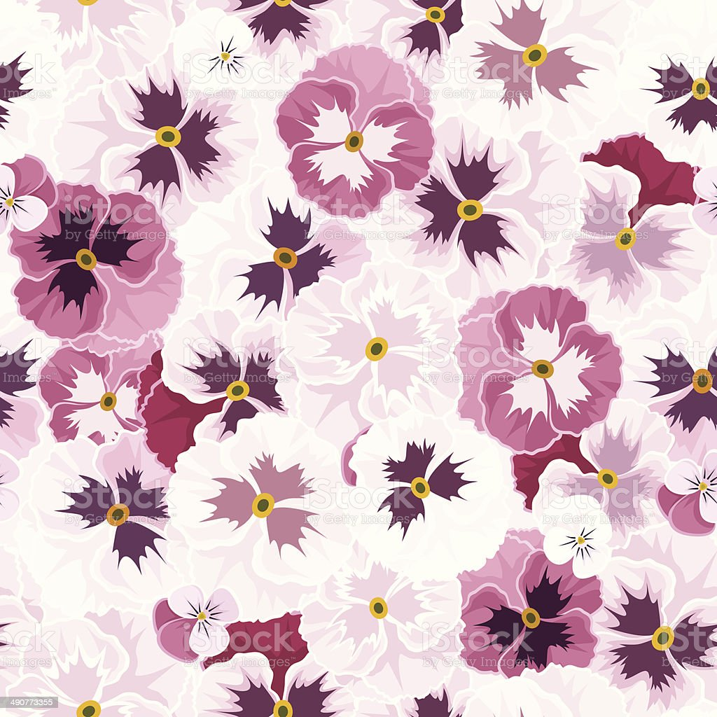Seamless pattern with pink pansy flowers vector illustration stock seamless pattern with pink pansy flowers vector illustration royalty free seamless pattern with mightylinksfo