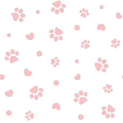 Seamless pattern with pink pet pawprints and hearts.