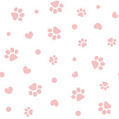 Seamless pattern with pink pet paw prints and hearts for Wallpaper, covers, cards.