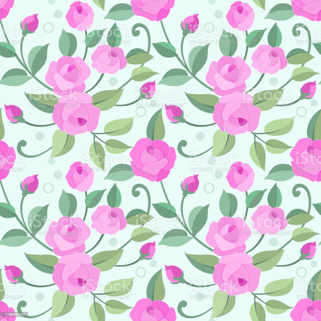ファブリックテキスタイルの壁紙のためのピンクのバラとシームレスな